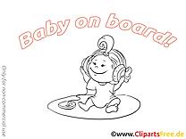 Écouteurs image à colorier – Bébé à bord clipart