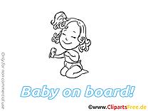 Fille clip art à colorier – Bébé à bord image gratuite