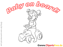 Fille dessin à colorier – Bébé à bord images
