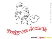 Fleur à colorier enfant – Bébé à bord à télécharger