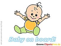 Heureux clip art – Bébé à bord image gratuite