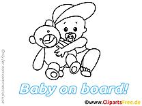 Illustration à colorier ours en peluche – Bébé à bord clipart