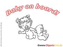Illustration ours en peluche à colorier – Bébé à bord clip art