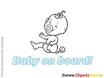 Image gratuite bébé à bord illustration