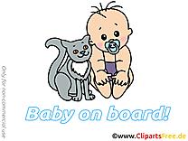 Images chat – Bébé à bord dessins gratuits