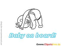 Images gratuites enfant – Bébé à bord clipart
