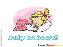 Lit clipart – Bébé à bord dessins gratuits