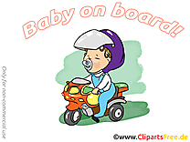 Motocyclette clip art gratuit – Bébé à bord dessin