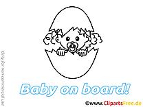 Oeuf illustration à imprimer – Bébé à bord clipart