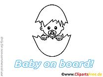 Oeuf images à imprimer – Bébé à bord clip art gratuit