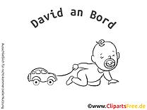 Petite voiture bébé à bord illustration à colorier