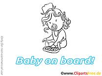 Piano image à colorier – Bébé à bord images cliparts