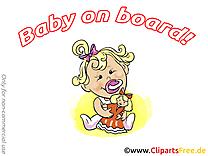 Poupée clip art – Bébé à bord image gratuite