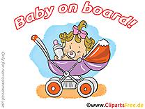 Poussette image gratuite – Bébé à bord clipart