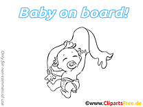 Serviette illustration à imprimer – Bébé à bord clipart