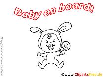 Sucette dessin à colorier – Bébé à bord à télécharger