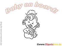 Toupie image à imprimer – Bébé à bord clipart