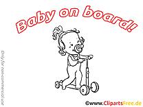 Trottinette clipart à imprimer – Bébé à bord dessins gratuits