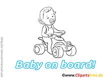 Voiture clip art à colorier – Bébé à bord images