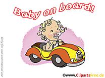 Voiture dessin – Bébé à bord clip arts gratuits