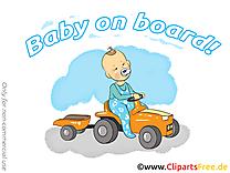 Voiture image – Bébé à bord images cliparts