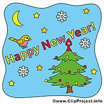 Bonne année clipart, image, ecard