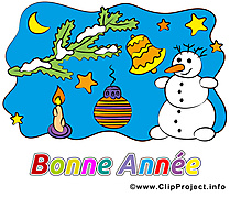 Happy New Year clip art, carte gratuite