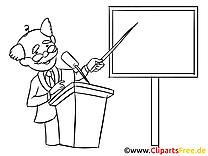 Professeur dessin  à colorier – Bureau cliparts à télécharger