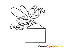 Bannière abeille  entreprise image à colorier gratuite