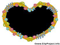 Coeurs dessin – Cadre à télécharger