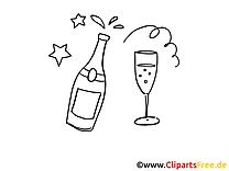 Champagne clipart à colorier  - Anniversaire images