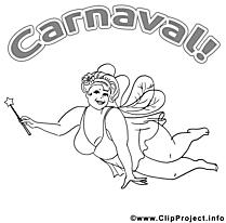 Fée clip art à colorier – Carnaval dessin