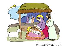 Scène de la Nativité image, card, clipart gratuite