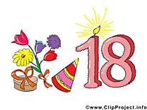 18 ans clip arts gratuits – Anniversaire illustrations