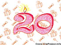 20 ans anniversaire illustration à télécharger gratuite