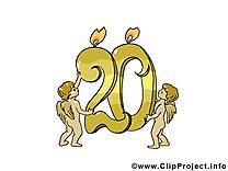 20 ans dessin – Anniversaire à télécharger