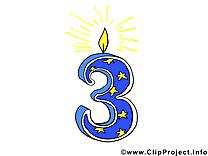 3 ans clip art gratuit – Anniversaire dessin