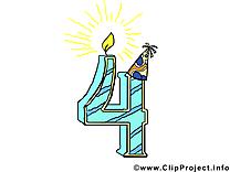 4 ans illustration gratuite – Anniversaire clipart