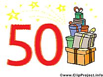 50 ans dessin – Anniversaire clip arts gratuits