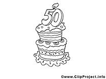 50 ans dessin à imprimer – Anniversaire clip arts gratuits