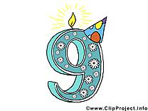 9 ans clipart – Anniversaire dessins gratuits