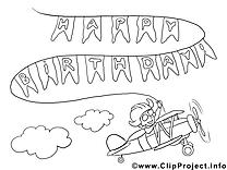Avion clip art à colorier – Anniversaire images