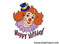 Clown anniversaire image à télécharger