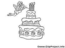 Coloriage gâteau images – Anniversaire clip art gratuit