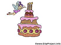 Fée gâteau image gratuite – Anniversaire clipart
