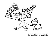 Illustration gratuite à colorier gâteau – Anniversaire clipart