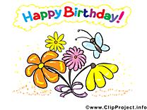 Papillon fleurs images – Anniversaire clip art gratuit