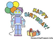 Robot clip art – Anniversaire image gratuite