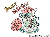 Tasses anniversaire illustration gratuite