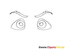 Coloriage yeux dessin image à télécharger gratuite